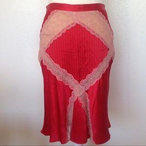 Catherine Malandrino Red 100% Silk Skirt Poppy